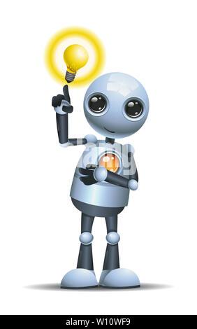 3D illustration d'un petit robot vous avez une idée sur un fond blanc Banque D'Images