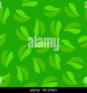 Arrière-plan transparent vert. Texture pattern en boucle de feuillage. Banque D'Images