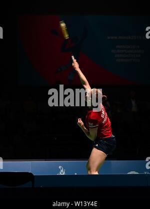 Minsk. Le Bélarus. 30 juin 2019. Lauren Smith (GBR) dans la finale du badminton à la 2e jeux européens. Garry Bowden/SIP Crédit photo agency/Alamy live news.