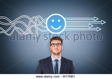 Solution heureuse de concepts sur l'écran visuel Banque D'Images