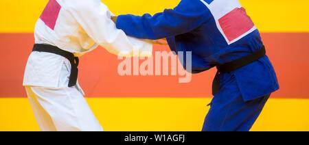 Deux combattants judo en uniforme blanc et bleu.