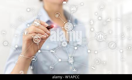 La structure des processus d'automatisation industrielle schéma de déroulement du concept d'innovation sur l'écran virtuel technique mixte