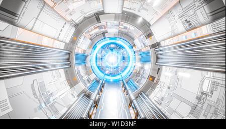 Sci du corridor de l'intérieur de vaisseau spatial qui conduit à un super ordinateur AI avenir concept technologie de rendu 3D Banque D'Images