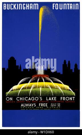 Vintage travel poster. Fontaine de Buckingham sur Chicago's lake front, plus grandes et plus belle fontaine illuminée par John Buczak en 1939. Banque D'Images