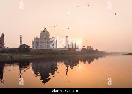 Prises d'un bateau sur la rivière Yamuna derrière le Taj Mahal au coucher du soleil, l'UNESCO World Heritage Site, Agra, Uttar Pradesh, Inde, Asie Banque D'Images
