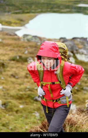 Randonnée - hiker femme en randonnée avec sac à dos sain vivant une vie active. Randonneur fille qui marche sur la randonnée en montagne nature paysage à Steingletscher Urner, Alpes, Alpes suisses, Berne, Suisse. Banque D'Images
