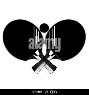 Raquette de tennis de table à billes avec des silhouettes, vector illustration Banque D'Images