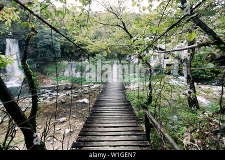 Suspension pont de bois dans la forêt en Géorgie Banque D'Images