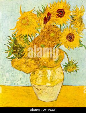 Vincent Van Gogh, Vase avec douze Tournesols, still life peinture, 1888 Banque D'Images