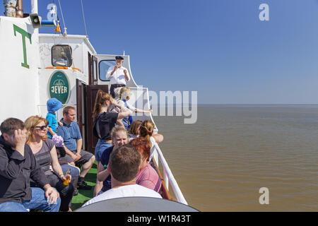 ''Excursion avec le bateau ''Etta de Dangast'' sur l'Jade Bay au phare, Arngast Dangast, Varel, Frise Orientale, Frise, Basse-Saxe, Norther Banque D'Images