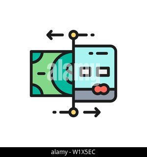 Cartes de recharge de scénario, la banque ATM, le distributeur de télévision sur l'icône de la ligne de couleur. Banque D'Images