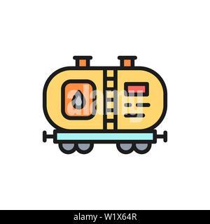 Réservoir d'huile du vecteur, le pétrole, l'essence de carburant avec l'icône de la ligne de couleur à plat. Banque D'Images