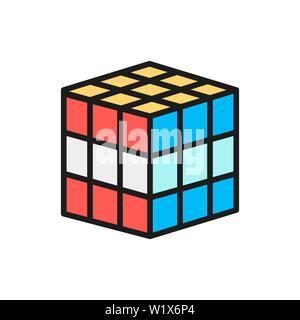 Vector cube 3d puzzle jouet mécanique, l'icône de la ligne de couleur à plat. Banque D'Images