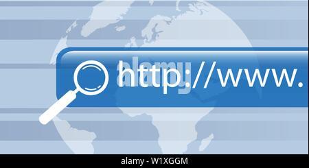 Recherche internet réseau mondial numérique illustration vecteur EPS10 Banque D'Images