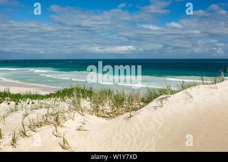 Vue grand angle d'une plage de sable blanc avec de hautes dunes de l'ouest de l'Australie avec de grosses vagues se brisant sur la plage Banque D'Images
