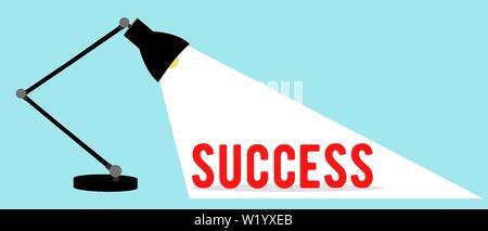 Vecteur d'une lampe de bureau bureau brillant sur un mot succès