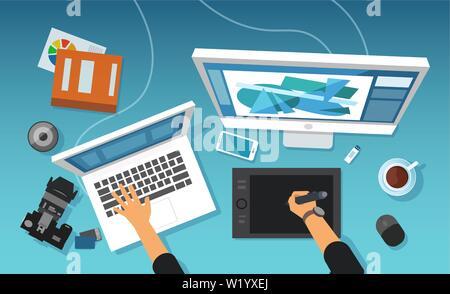 Vecteur d'un espace de travail de bureau de création moderne d'un concepteur graphique, image retoucher professionnel travaillant sur tablette et de bureau