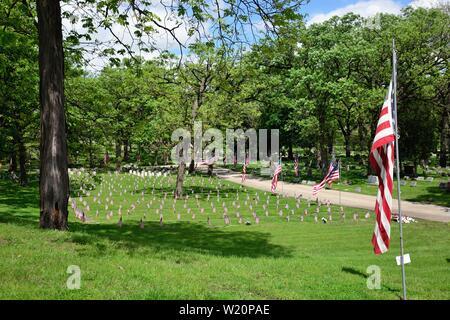 Elgin, Illinois, USA. American flags dans un cimetière où les routes de plus petites versions drapeau parsèment la sépulture des anciens combattants. Les drapeaux sont sur l'affichage Banque D'Images