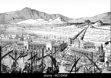 Une vue aérienne du Pirée et le long mur qui reliait Athènes à ses ports du Pirée et Phalerum. Les murs, à environ 6 km de longueur, ont été construits au milieu du 5e siècle avant notre ère, et fourni une connexion sécurisée à la mer même en cas de siège. Ils ont été détruits par les Spartiates en 403 av. J.-C. après la défaite d'Athènes dans la guerre du Péloponnèse, mais reconstruit avec le soutien de Perse pendant la guerre de Corinthe en 395-391 BC. Les murs étaient un élément clé de la stratégie militaire athénienne Grec, offrant à la ville un lien constant à la mer et contrarie les sièges menés par terre. Banque D'Images