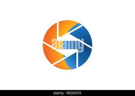 Lettre S Appareil photo dessins de logos Inspiration isolé sur fond blanc Banque D'Images