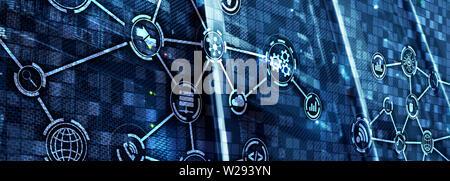 Concept de la technologie de l'information et des télécommunications. Diagrammes avec icônes de salle de serveurs différents.