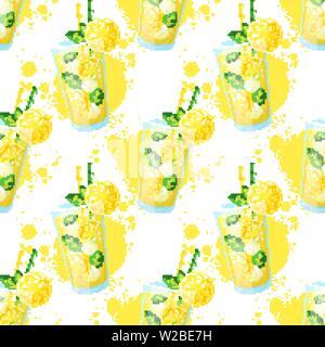 Une limonade. Vector background avec des produits frais et doux boisson d'été et de taches de peinture. Banque D'Images