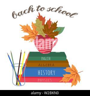 Retour à l'école. Cute vector illustration pour poster, l'arrière-plan, une bannière ou une carte, dessin libre avec la papeterie, livres et crayon sur un livre blanc