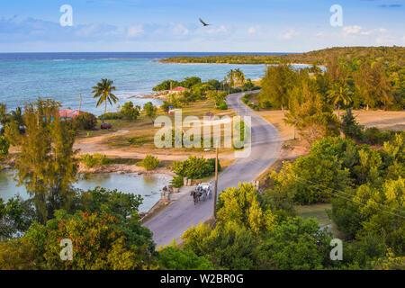 Cuba, Holguín, Cheval et panier sur la route côtière à Playa Guardalvaca Banque D'Images
