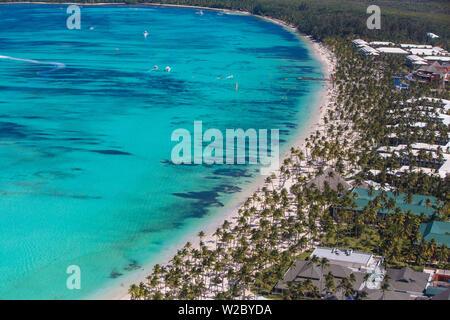 République dominicaine, Punta Cana, vue de la plage de Bavaro Banque D'Images
