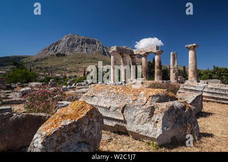 Grèce, Péloponnèse, Corinthe, Région de l'ancienne Corinthe, Temple d'Apollon Banque D'Images