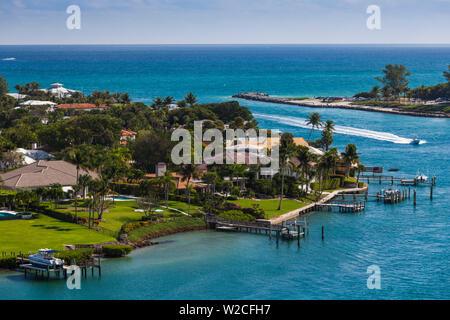 USA, Floride, Jupiter, Jupiter Inlet Lighthouse, vue de Jupiter Island Banque D'Images
