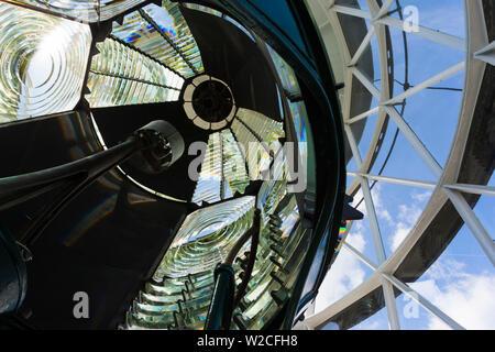 USA, Floride, Jupiter, Jupiter Inlet Lighthouse, détail de la lentille de Fresnel Banque D'Images