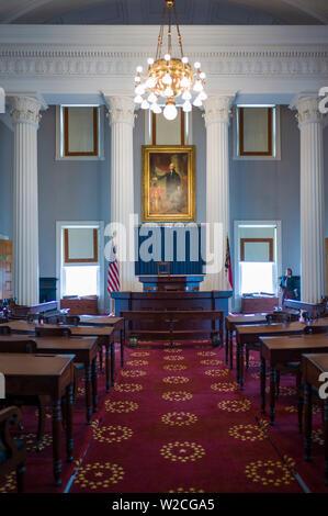 USA, Caroline du Nord, Raleigh, North Carolina State Capitol, 19e siècle chambre de la Chambre des représentants de l'État Banque D'Images