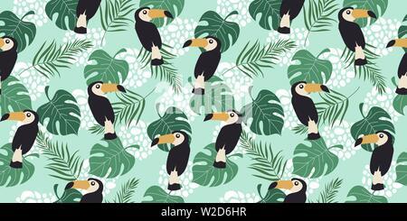 Hand drawn seamless pattern horizontale avec les oiseaux tropicaux et de feuilles sur fond bleu. Vector illustration télévision de toucan . Banque D'Images