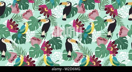 Hand drawn seamless pattern horizontale avec les oiseaux tropicaux, de fleurs et de feuilles sur fond bleu. Vector illustration télévision de perroquets et toucans . Banque D'Images