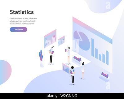 Modèle de page d'atterrissage des données Statistique Concept Illustration isométrique. Une télévision moderne design de conception de page web pour site web et site web mobile.