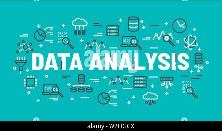 Les mots de l'analyse des données de la base de données d'icônes entouré par, cloud computing, serveur, réseau d'icônes. Vector illustration d'arrière-plan. Banque D'Images
