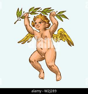 Cute angel avec des flèches et arc. Les petites ailes avec Cupids esthétique voler dans le ciel. Les enfants en monochrome style gravé. Modèle de tatouage ou d'un logo Banque D'Images
