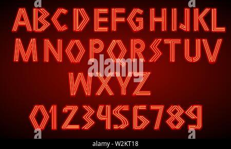 80 s retro néon rouge font. Script futuriste, chrome lettres. Alphabet d'impression lumineuse sur fond sombre. Symboles de la lumière de nuit show en club. Galaxy Banque D'Images