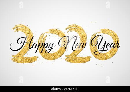 Bonne année 2020. Nombre de paillettes d'or noir avec la calligraphie. Grunge brush. Confettis d'or. Vector illustration. EPS 10 Banque D'Images