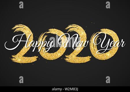 Bonne année 2020. Nombre de paillettes d'or avec la calligraphie sur un fond noir. Grunge brush. Confettis d'or. Vector illustration. EPS 10 Banque D'Images