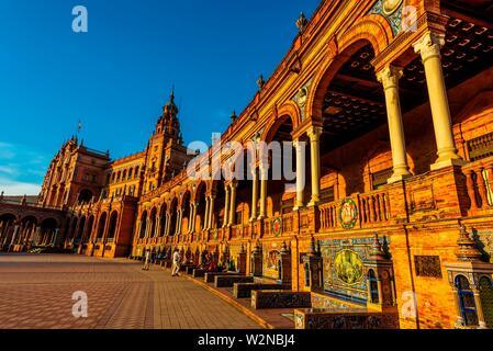 Plaza de España, Parc Maria Luisa, Séville, Andalousie, espagne. Banque D'Images