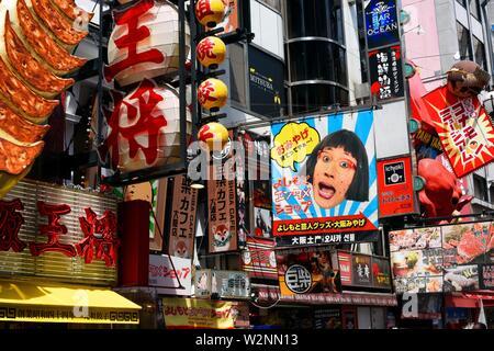 Dotombori, enseignes de boutiques, la ville d'Osaka, Japon, Asie. Banque D'Images