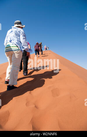 Les randonneurs de grimper une dune de sable ridge à Sossusvlei, Namib-Naukluft National Park, la Namibie. Banque D'Images