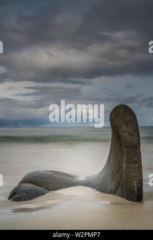 Vikten Beach,îles Lofoten, Norvège, avec des rochers sculptés de premier plan sur un jour de tempête. L'exposition longue Banque D'Images