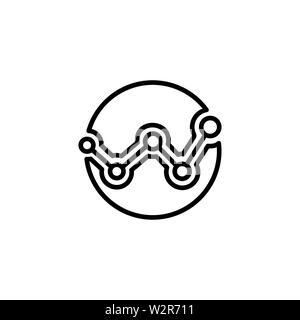 L'icône de la ligne de l'analytique dans un style plat Icône vecteur pour les applications et sites Web. Icône noire Vector Illustration Banque D'Images