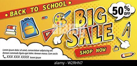 Retour à l'école grand vente bannière de promotion, acheter maintenant offre avec demi-teinte. Moitié prix discount card avec l'équipement scolaire, sac à dos, des livres. Modèle pour