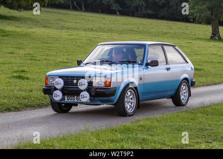 Talbot Sunbeam Lotus 1981, Moonstone Blue.Vintage Classic, véhicules restaurés voitures voyageant sur l'autoroute M6 au Leighton Hall car show, Royaume-Uni Banque D'Images