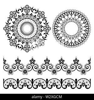 Modèle vecteur dentelle Mandala et dentelle transparente design collection retro design, décorations avec des fleurs et des vagues en noir sur l'arrière-plan Banque D'Images