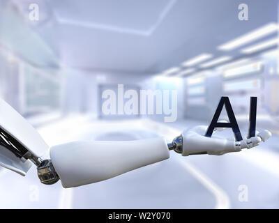Le rendu 3D d'un robot mâle main tenant le texte lettres AI, sens de l'intelligence artificielle de la technologie. Concept futuriste. Banque D'Images